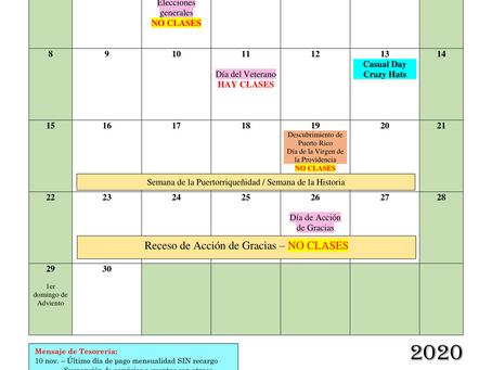 Calendario escolar de noviembre 2020