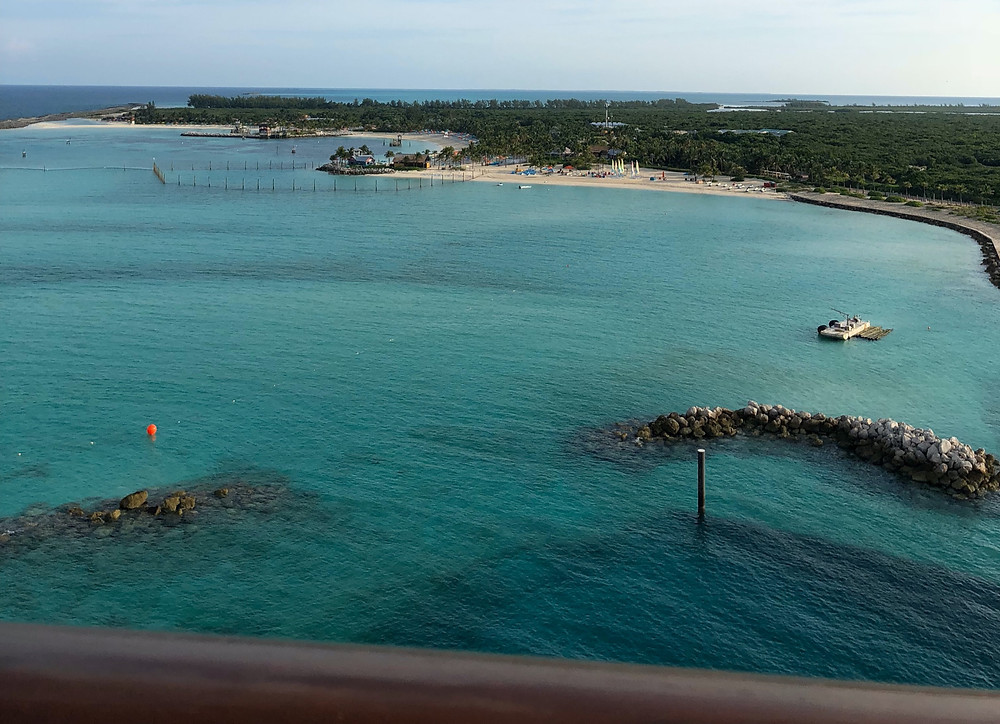 A view of Castaway Cay from a docking Disney Dream