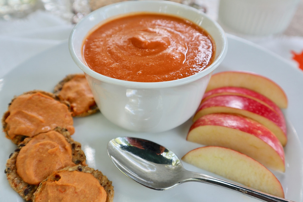 Easy vegan cheezy spread and tomato soup.