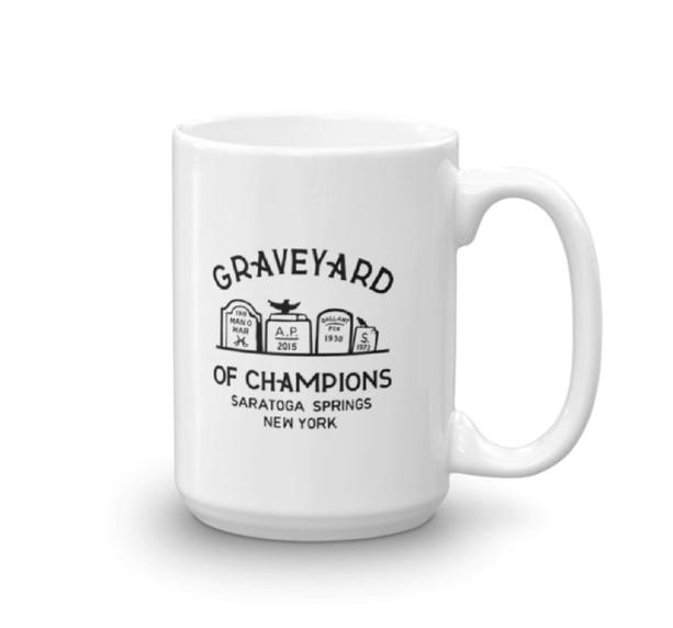 Horse racing gifts. Horse racing mug. Saratoga mug.