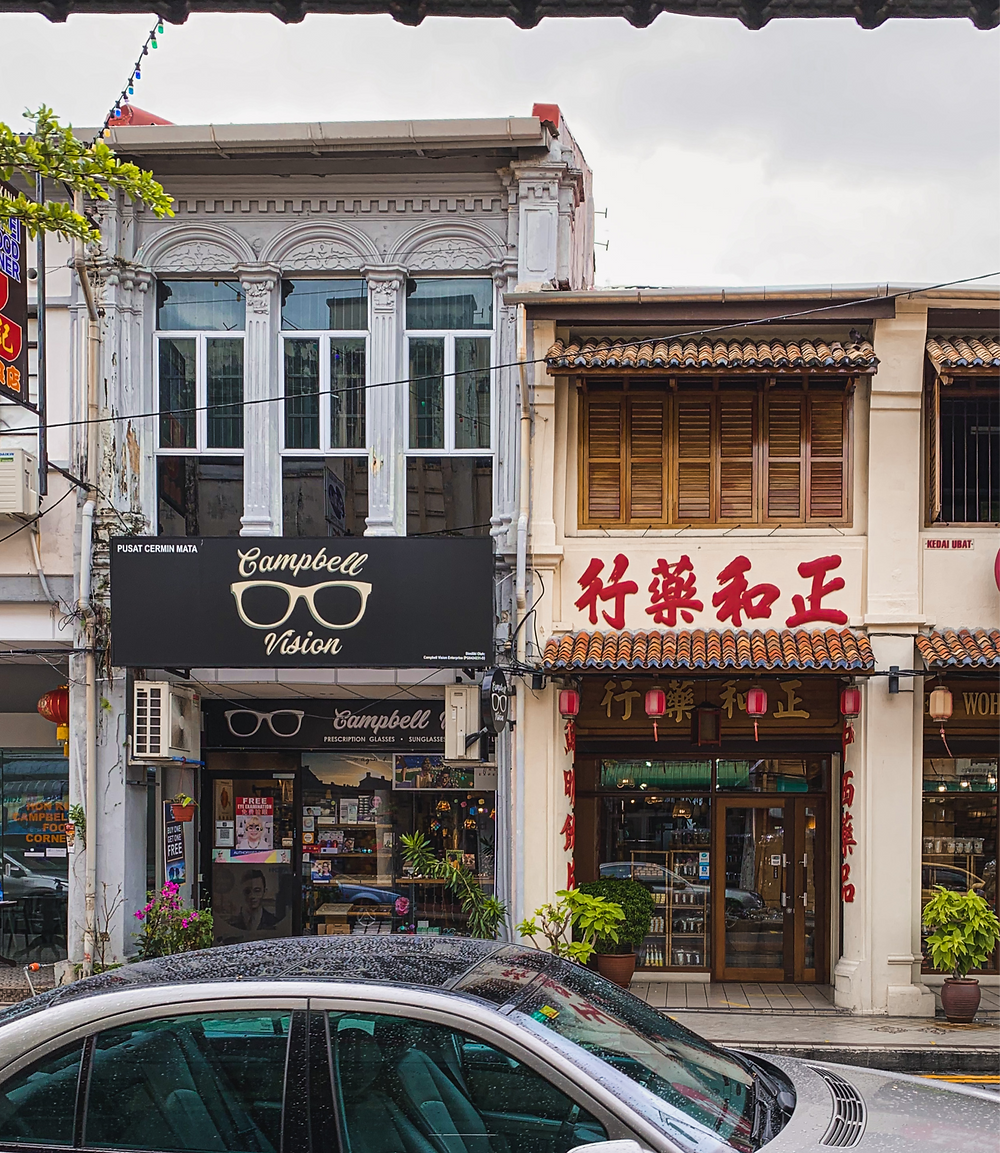 Urban photography of Campbell Street heritage shophouses, Penang, Malaysia | RollingBear Travels.