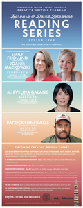 English Department's poster detailing all of the speakers for the Spring 2020 semester.