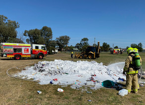 Flaming rubbish heap dumped in the park, South Tamworth