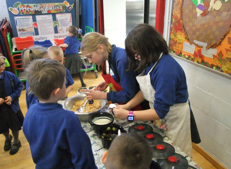 Collaton 'Health Heroes' are hard at work this lunchtime! School contribution in action!