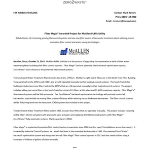 Filter Magic® Awarded Project for McAllen Public Utility