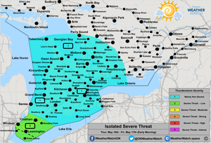 Thunderstorm Forecast, for Southern Ontario. Issued May 16th, 2019.