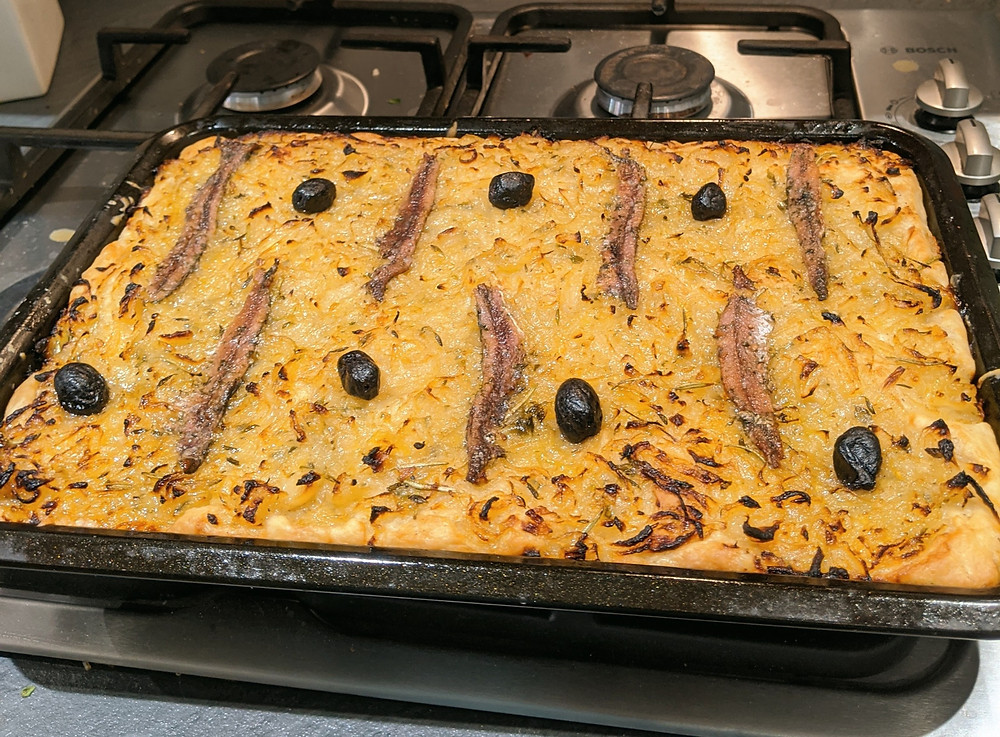 Picture of pissaladiere fresh out of the oven