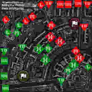 Harkov haritasında sınıflara göre stratejik noktaları gösteren eski bir çalışma