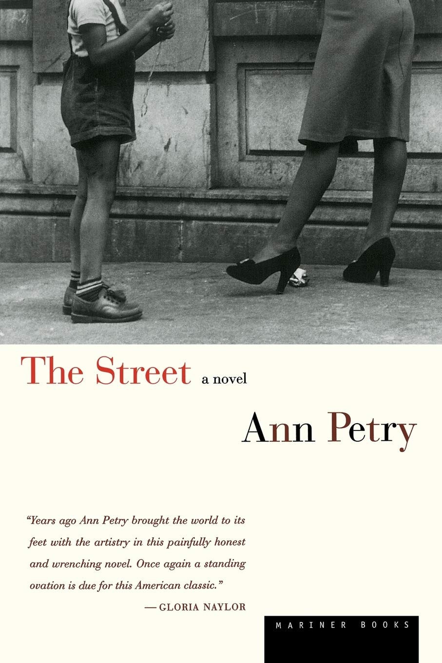 The Street by Ann Petry thebookslut book reviews quarentine reads black and white picture vintage retro photography cover stockings high heels young boy in shorts