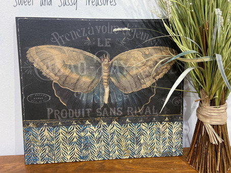 Decoupage, DIY Paint, and IOD Stamps come together for this BOHO Inspired Wall Art