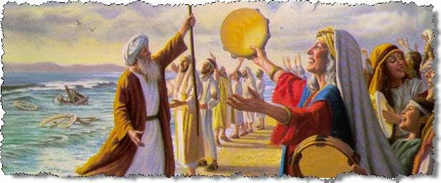 Miriam leads the woman in a song of praise after crossing the Red Sea.