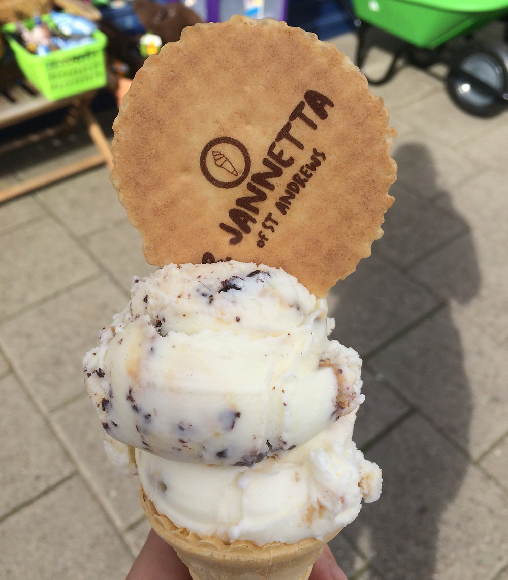 Ice cream cone with waffle from Janettas Gelateria in St Andrews, Scotland