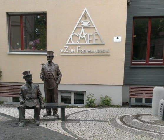 Maçonaria - Uma pausa para café. Estamos em Quedlinburg, Saxônia-Anhalt / Alemanha.