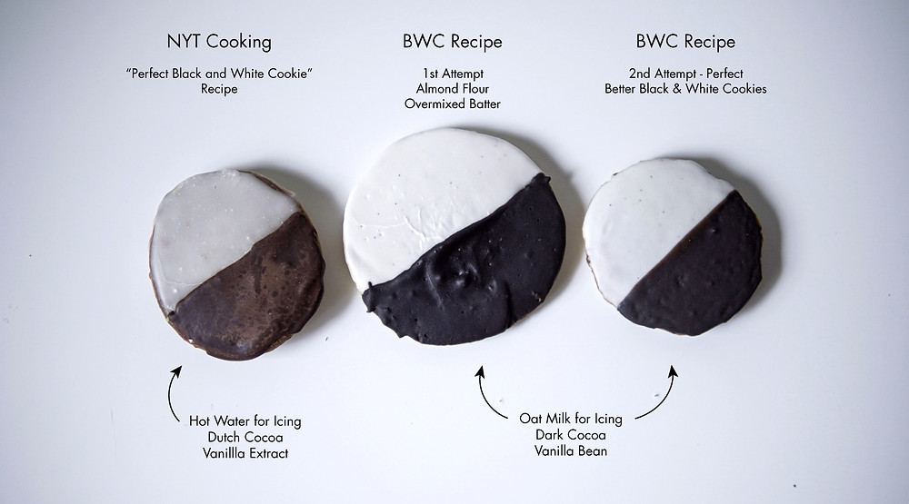 comparison of three black and white cookies