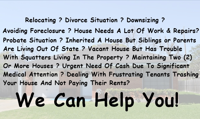 We Can Make You a Fair Offer Before Foreclosure. Call Us @ (281) 972 - 4555 or Fill one of our contact forms and let us know your situation. We Can Help You