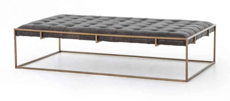 Upholstered rectangle coffee table in dark grey leather with tufting