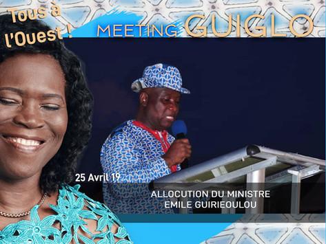 MEETING DE GUIGLO : ALLOCUTION DU MINISTRE ÉMILE GUIRIEOULOU