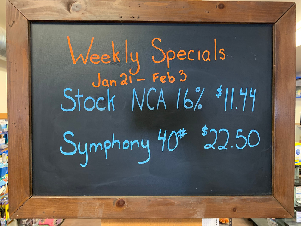 STOCK NCA 16% is a sweet feed with no copper added. Great for sheep, goats, diary and beef livestock. Symphony is a wonderful choice of bird seed to bring everything from Blue Jays to Chickadees to your feeder