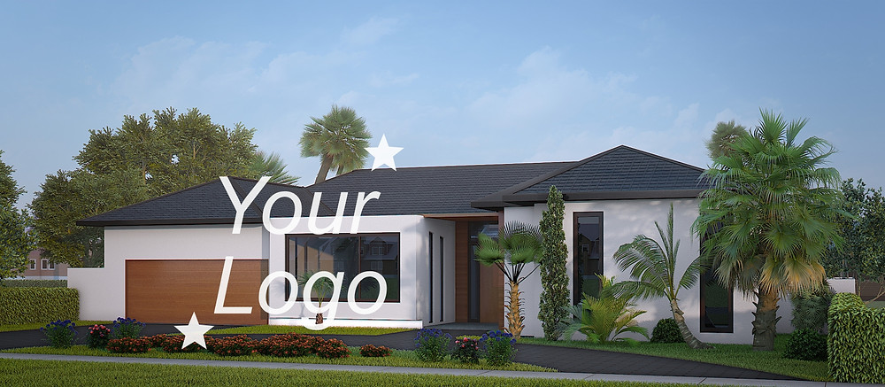 Exterior 3d renderings with the big logo