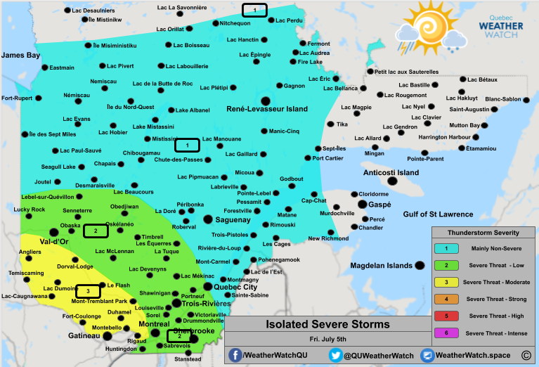 Thunderstorm Forecast, for Southern Quebec. Issued July 5th, 2019.
