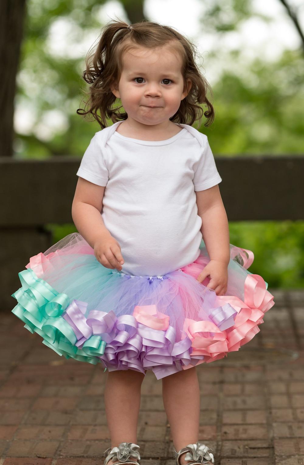spring tutu skirt on baby girl