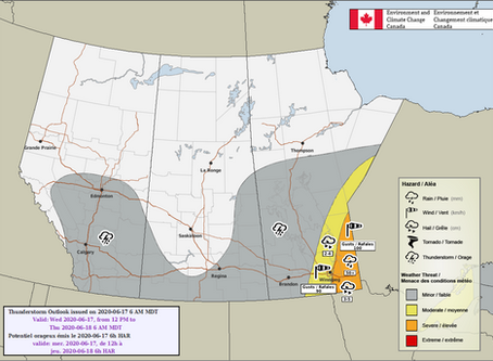 Severe weather outbreak likely in SE Manitoba and NW Ontario