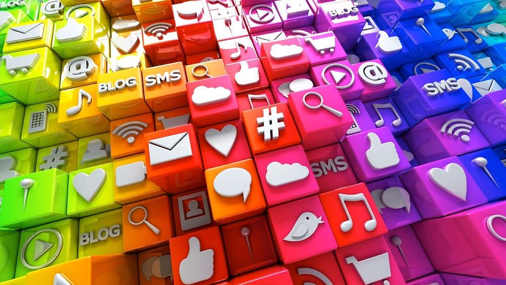 Redes sociales gráfico multicolor
