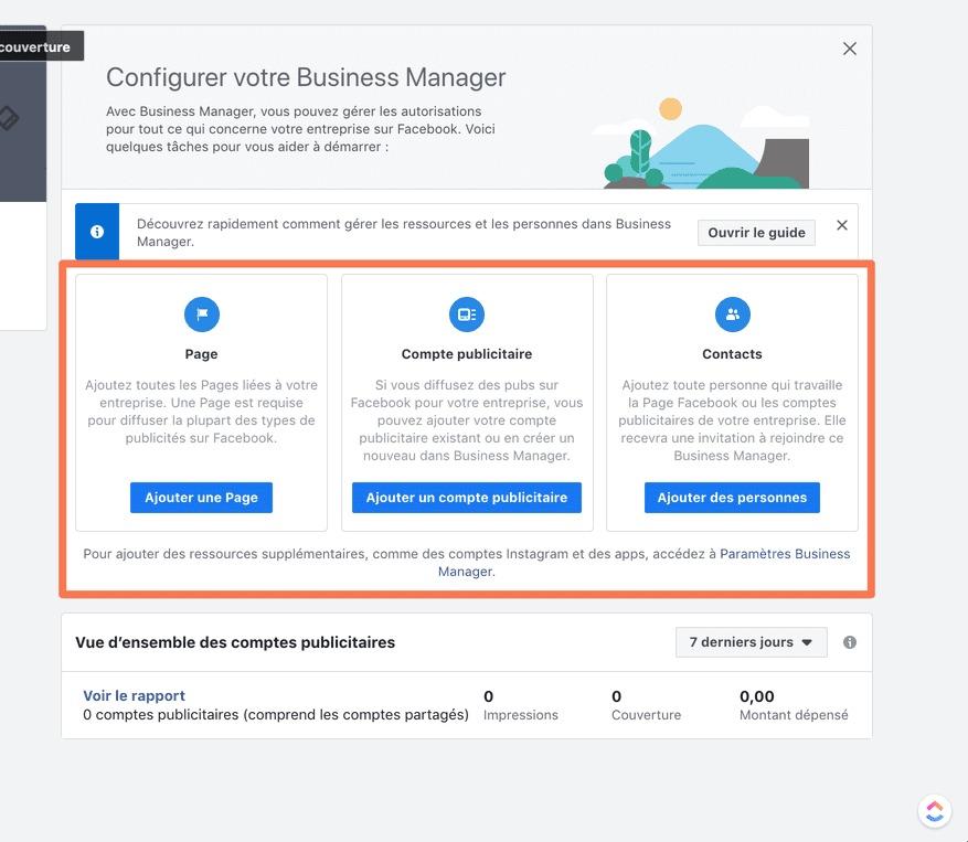 pannello creazione e configurazione del business manager