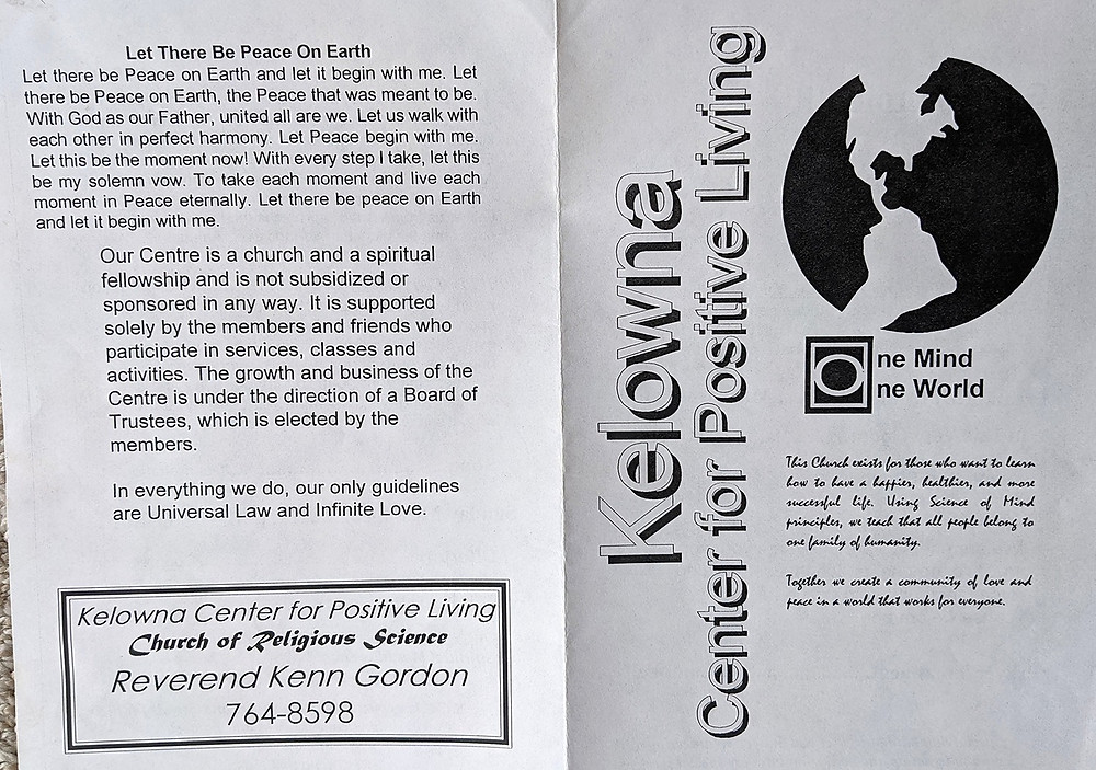 1994 Kelowna Centre for Positive Living program front