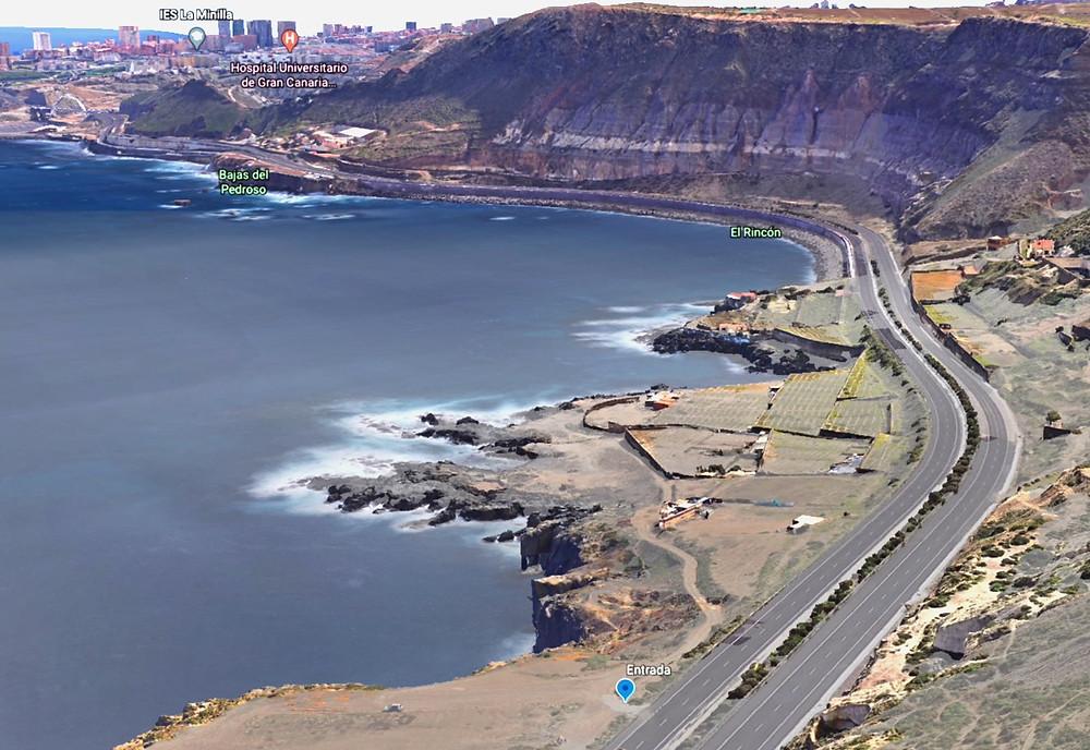 Mapa carretera del norte y acceso a El bajo de Agustín diablo. Colada volcánica Las Palmas de Gran Canaria
