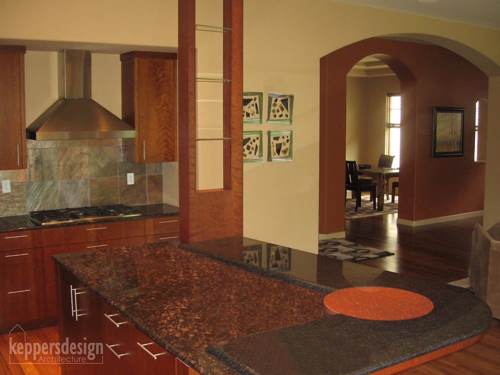 Granite countertop, kitchen island, knick-knack tower