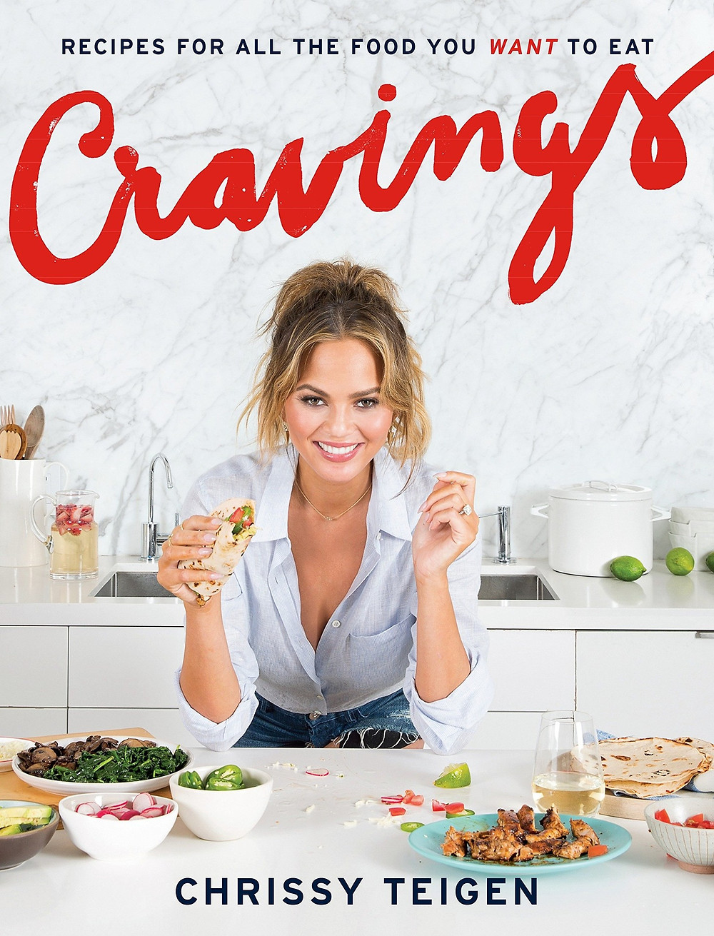 Cravings: Recipes for All the Food You Want to Eat: A Cookbook Adeena Sussman (Author)  Chrissy Teigen (Author) food, marble shirt, red lettering thebookslut book reviews the book slut