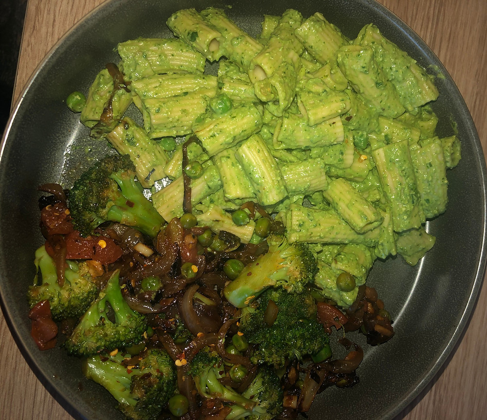 avocado pesto on pasta