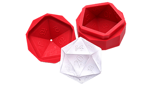 D20 made of ice next to silicone mold.