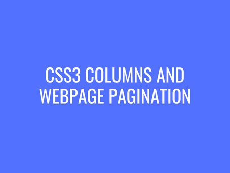 CSS3 Columns and WebPage Pagination