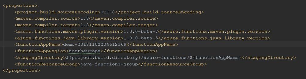 Deployment settings in the pom.xml file