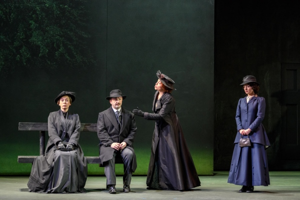 Opera North Katya Kabanova  - Heather Shipp as Kabanicha, Andrew Kennedy as Tichon, Stephanie Corley as Katya and Katie Bray as Varvara. credit Jane Hobson