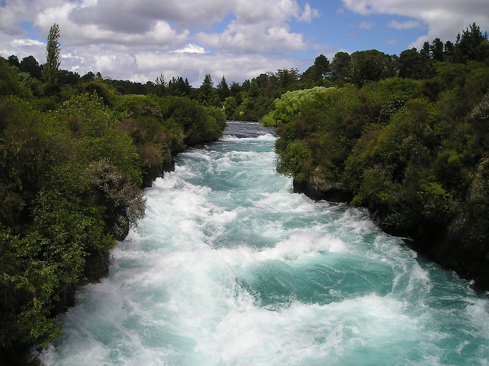 Powerful blue river flowing through a green forest with white-water rapids