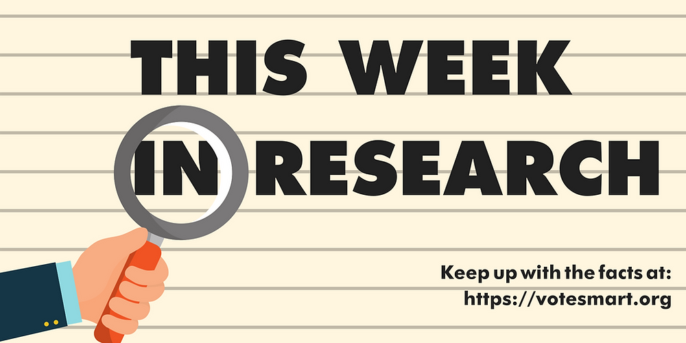 "Image with the text ""This week in research"" placed behind a magnifying glass."
