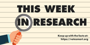 """Image with the text """"This week in research"""" placed behind a magnifying glass."""