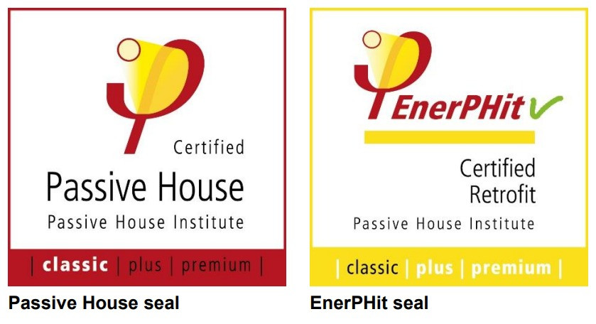 Passive house and EnerPhit seals