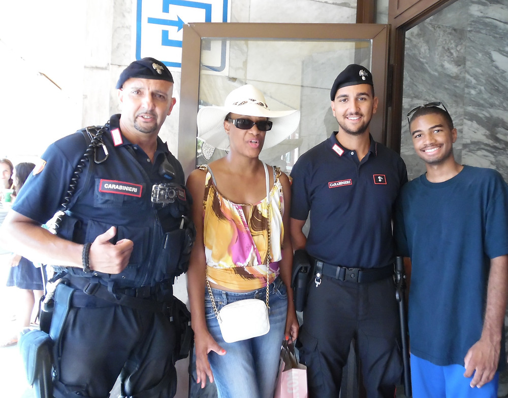 Hanging with security in Ventimiglia, Italy