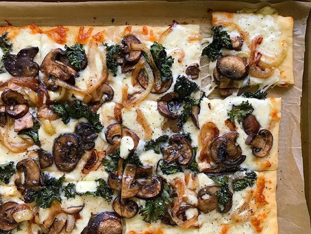 Mushroom And Caramelized Onion Pizza With Kale