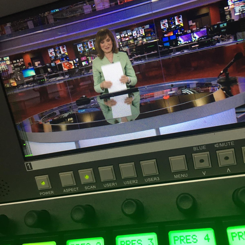 Mathew Shaw at work in the BBC news room