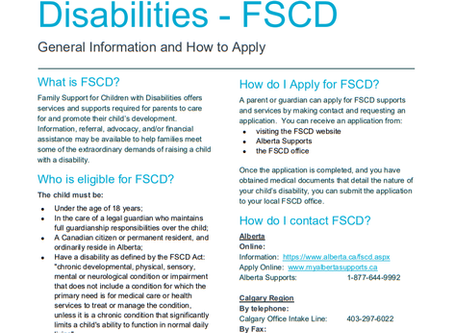 Alberta Support (Family support for children with disabilities-FSCD)