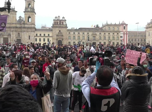 "Bogota Colombia Lockdown, Coronavirus for the most poor, chanting ""We are hungry."""