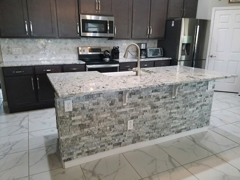 modern kitchen with stone tile