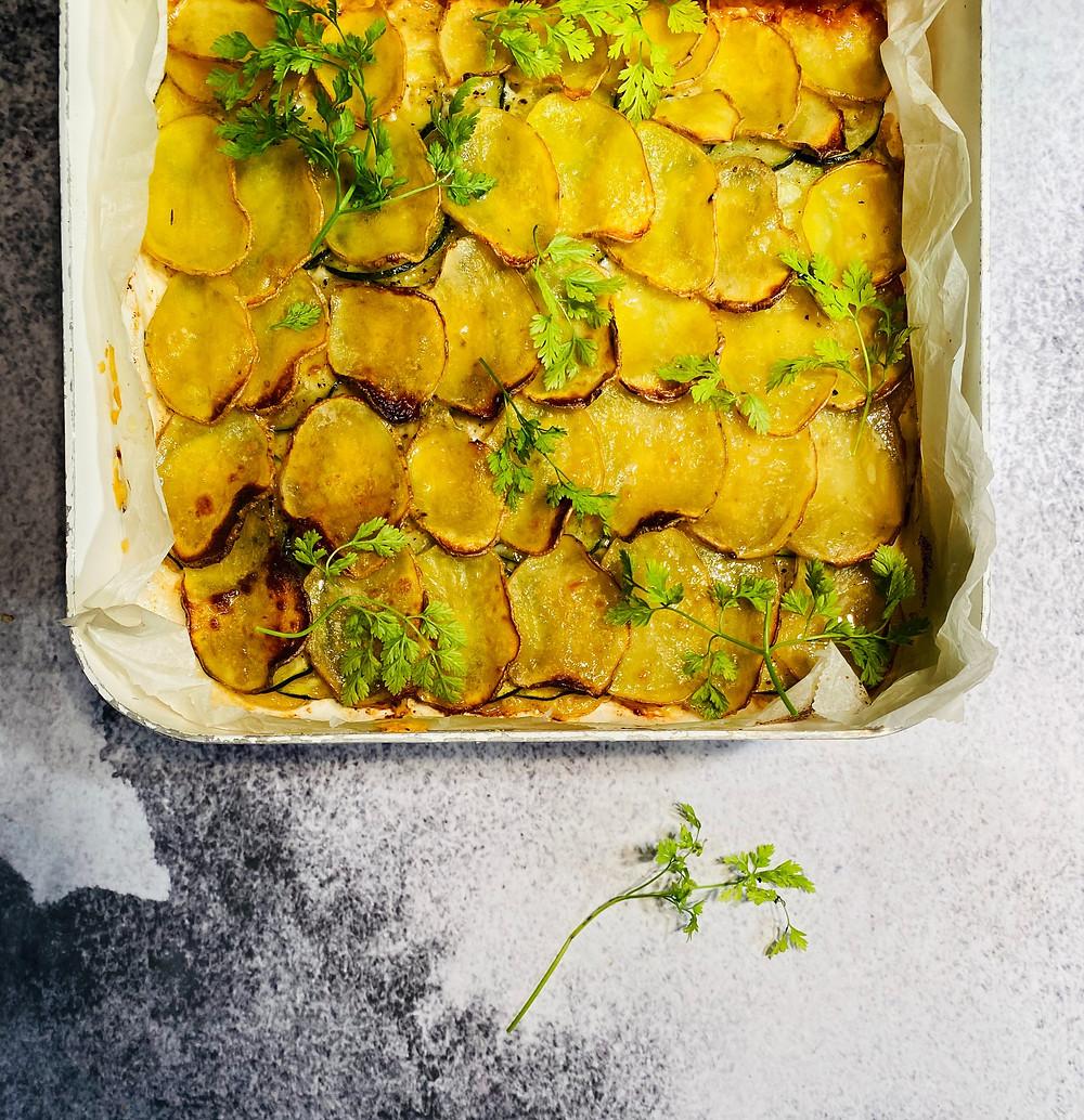bulvių ir cukinijų blynas, blynas iš orkaitės, Alfo receptai
