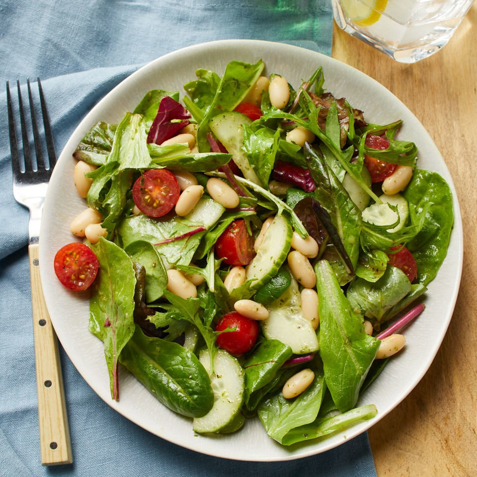 Tomato, Cucumber, and White Bean Salad with Basil Vinaigrette
