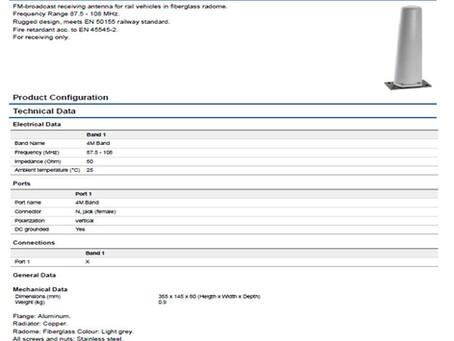 K727313 | 84460301 | Sencity Rail Antenna | 87.5 - 108 MHz | HUBER+SUHNER | Tidligere Kathrein